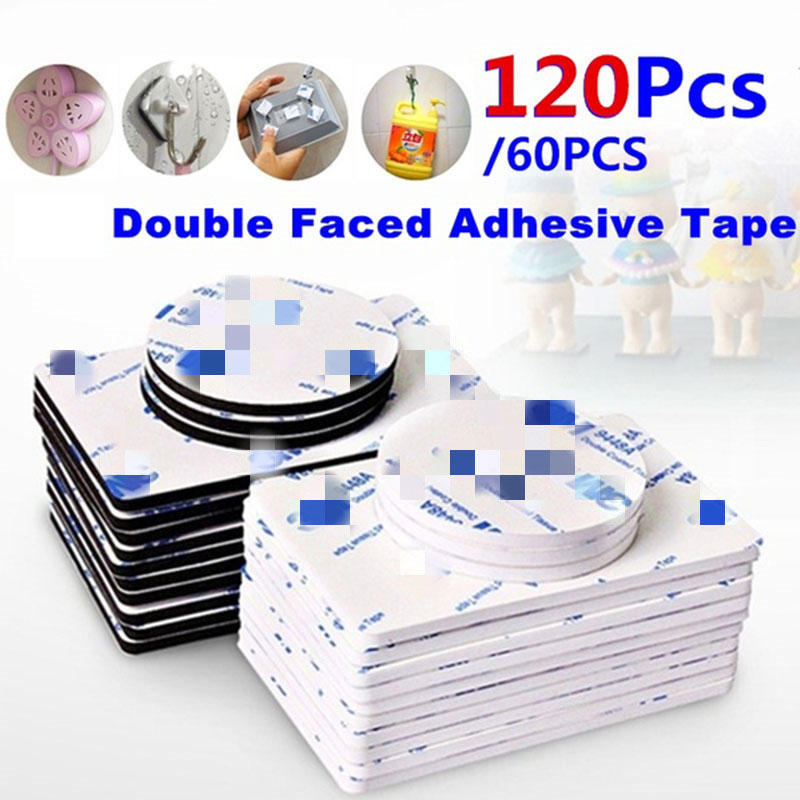 60/120pcs Double Sided Foam Tape Strong Pad Mounting Rectangle Adhesive Tape 3M