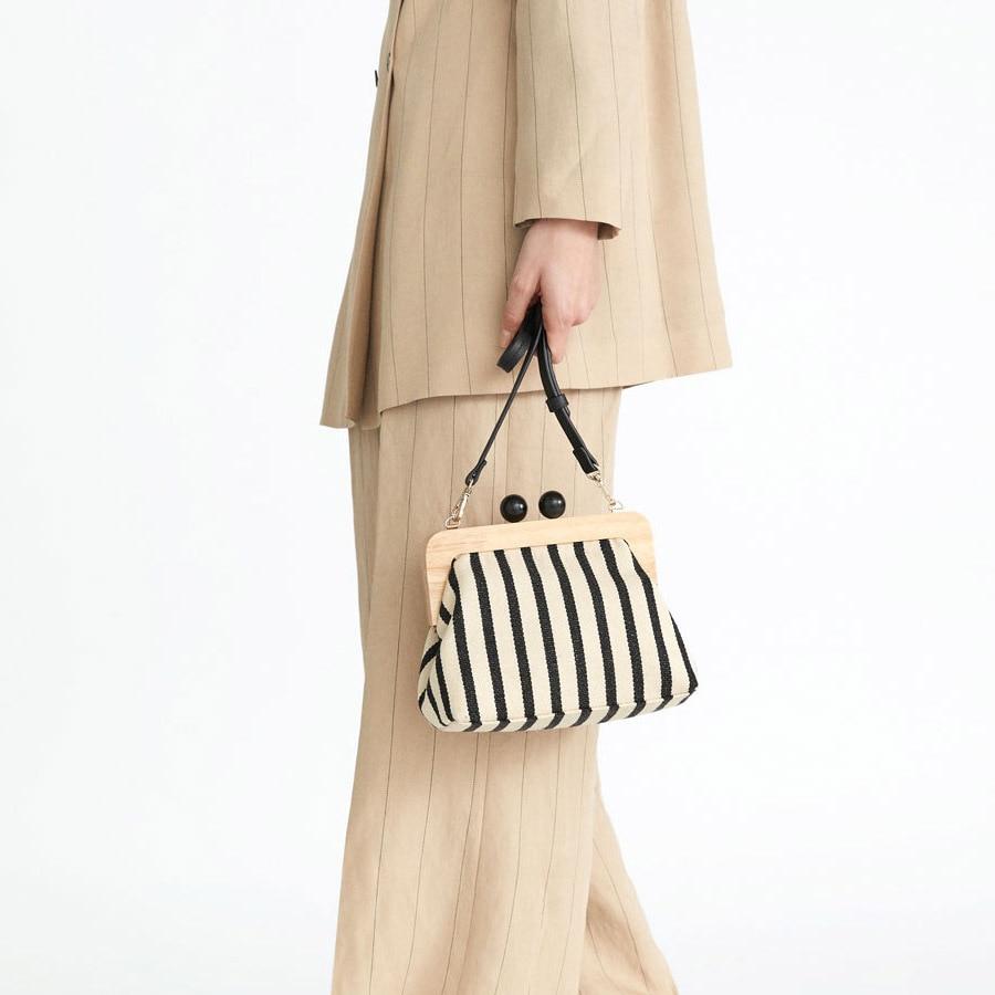 Shell-Bags Purse Messenger-Bag Bead Canvas Wooden Ladies Clutch Shoulder Retro Striped