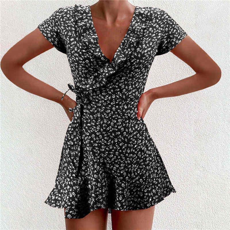 hirigin 2021 Women Dress Boho Floral Ruffle Short Mini Dress Summer Knot Sexy V Neck Party Holiday Dress Femme vestido de mujer