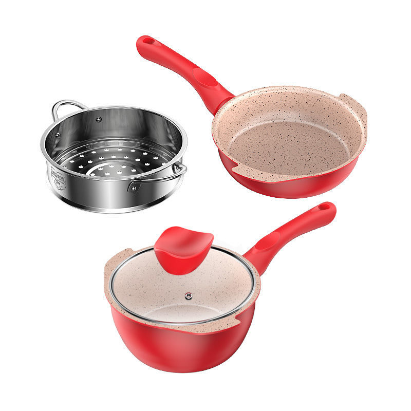 Baby Food Supplement Pot Baby Non-stick Pan Milk Pot Soup Pot Omelette Pot Children Maifan Stone Wok Cooking Pots And Pans Set
