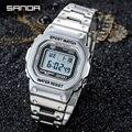 Часы наручные SANDA Мужские Цифровые, брендовые Роскошные светодиодные модные водонепроницаемые спортивные полностью стальные