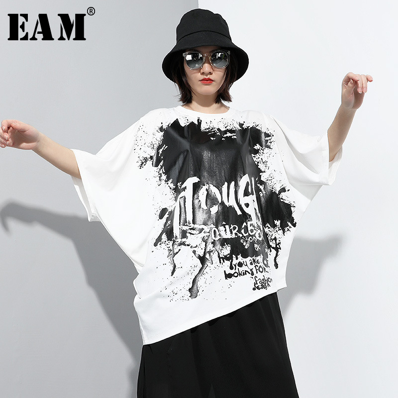 [EAM] Women Pattern Printed Split Joint Big Size T-shirt New Round Neck Half Sleeve  Fashion Tide  Spring Summer 2020 1T879