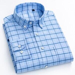 Image 2 - Mannen 100% Katoen Geborsteld Flanel Plaid Geruite Shirt Lange Mouw Standaard Fit Comfortabele Warm Casual Button Kraag shirts