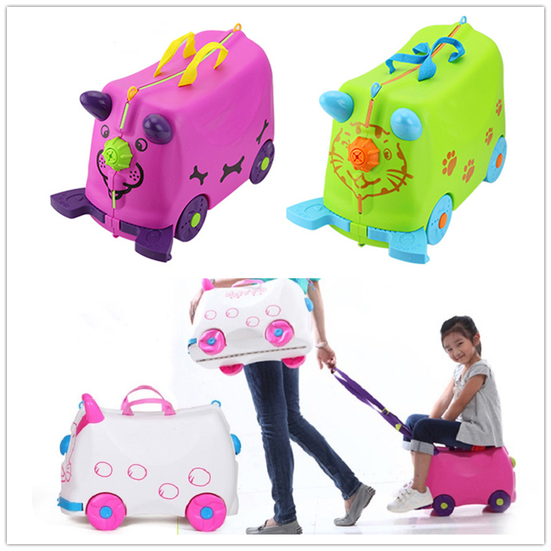 Fashion Driving Storage Box Travel Luggage Boy Girl Cars Trunk Box Suitcase Can Sit To Ride Kids Travel Luggage Children Holiday
