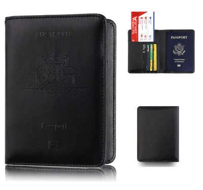 Australia PU Leather Passport Holder RFID Blocking Travel ID Business Credit Card Cover Case Pouch Wallet Passport Organizer
