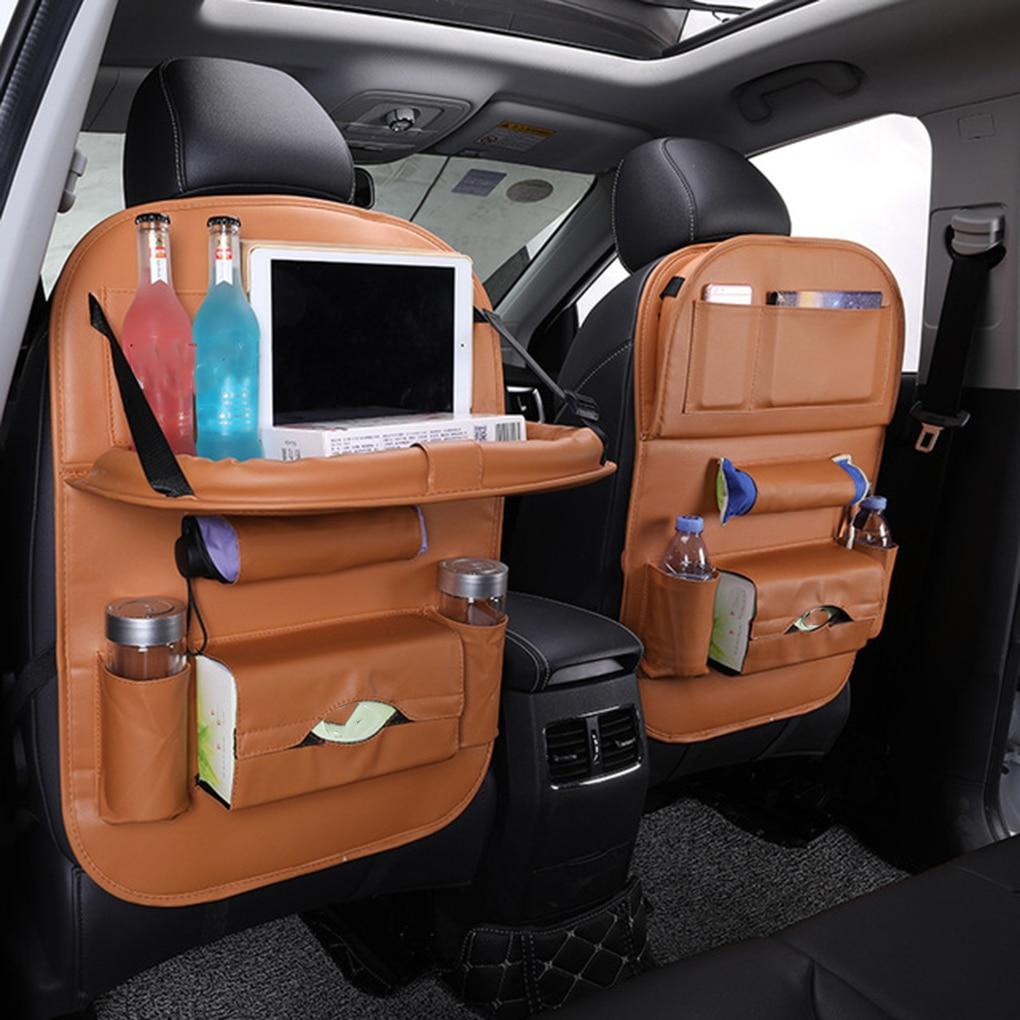Pu Leather Pad Bag Car Seat Back Organizer Foldable Table Tray Travel Storage Bag Foldable Dining Table Car Seat Storage Bag 1