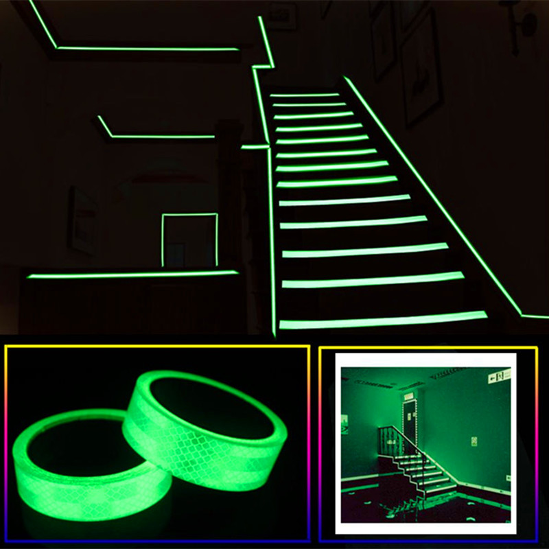 Glow In The Dark Luminous Fluorescent Night Self-adhesive Sticker Tape Safety Security Home Decoration Warning Tape Kids Room 12 image