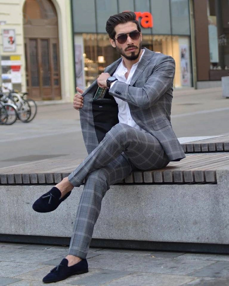 2019 High Quality New Arrival Mens Suits Slim Fit Male Business Formal Wedding Tuxedos Custom Made Boy Friend Suit Male 2 Pieces