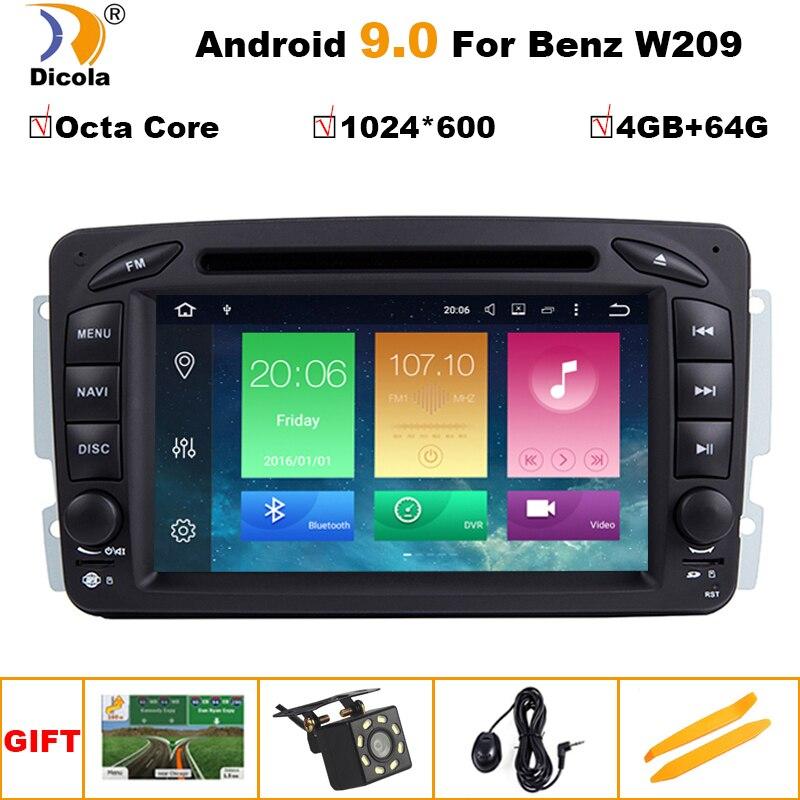 PX5 IPS Android 9.0 4G 64G 2 DIN lecteur DVD de voiture pour Benz CLK W209 W203 W168 W208 W463 W170 Vaneo Viano Vito E210 C208 GPS PC