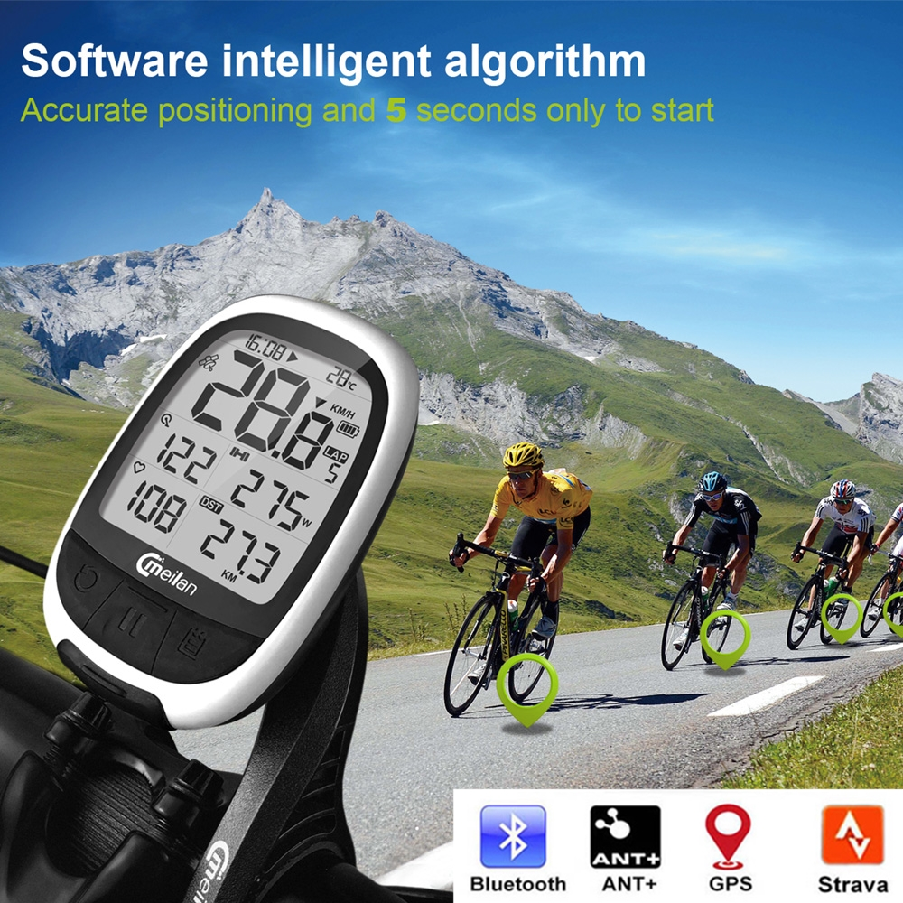 Meilan M1 M2 GPS Bike Computer Waterproof Bluetooth 4.0 Cycling Speedometer Connect with Cadence/HR Monitor/Power Meter Odometer|Bicycle Computer| |  - title=