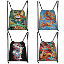 Backpack Storage-Bags Shoes-Holder Canvas Travel Women Dragon Bookbag Teenager Large-Capacity
