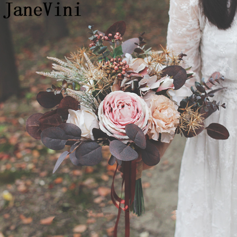 JaneVini 2019 Autumn Bridal Silk Flower Bouquet Chocolate Vintage Bride Holding Flowers Artificial Wedding Bouquets Accessories