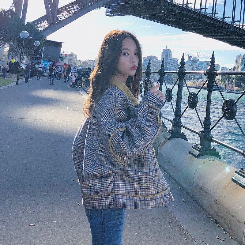Femmes vêtements veste femmes automne et hiver nouveau treillis coréen la lâche court paragraphe Deerskin étudiant veste