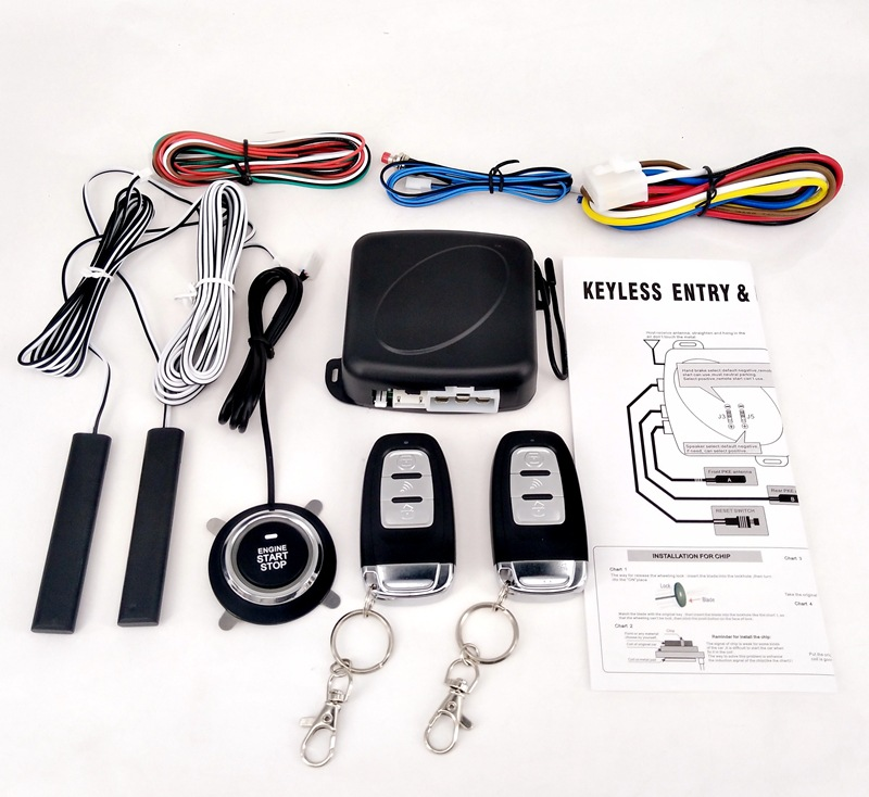 Car Alarm Passive Keyless Entry Remote Start/Stop Engine System Central Lock Car Engine Start Stop Button Automotive PKE SQ886|Keyless Start System| |  - title=