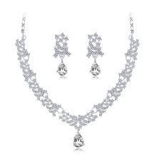 Fashion Classic Bride Necklace Earrings Two-Piece Set Europe And America High-End Alloy Diamond Set Wedding Banquet Versatile Je(China)