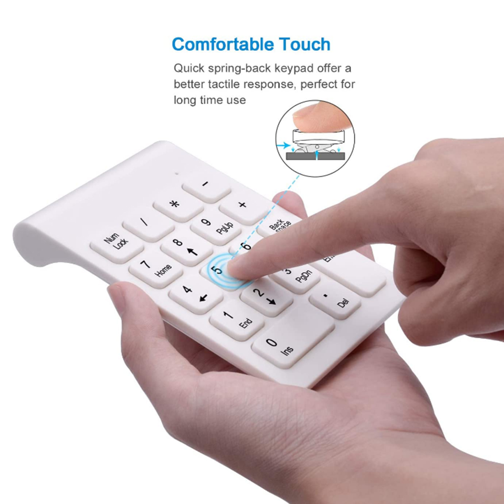 18 Keys Bluetooth Wireless Numeric Keypad Mini Numpad with Mouse Digital Keyboard for PC Accounting Tasks Mini Keypad Mouse