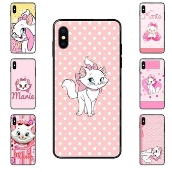 For Galaxy S5 S6 S7 S8 S9 S10 S10e S20 edge Lite Plus Ultra Black Soft TPU Cell Phone Cover Case Marie Aristocats Retro image