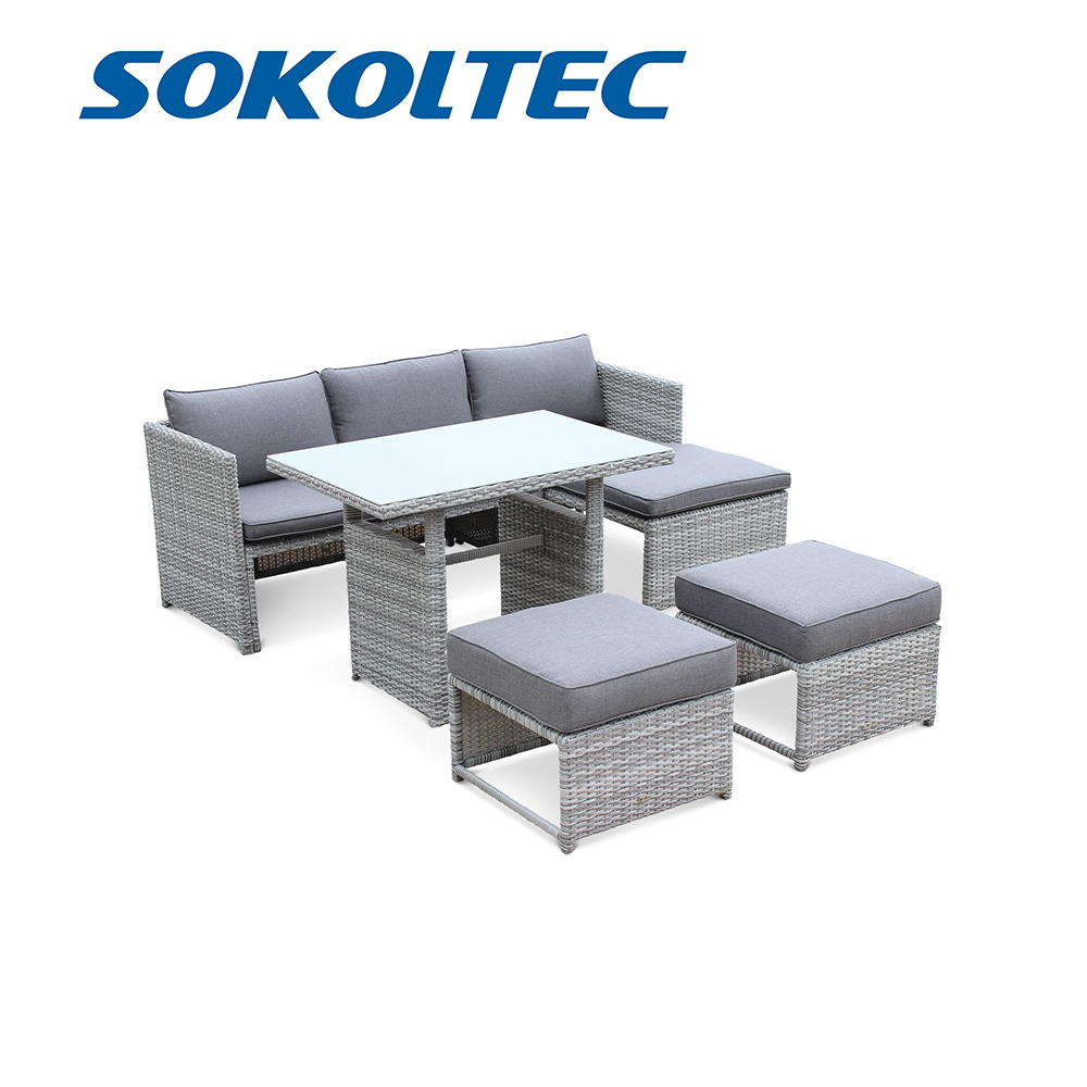 SOKOLTEC Sofa High End Outdoor Sectional Tables Teak Frame Patio Waterproof Garden Furniture Rattan Wicker Table Sets