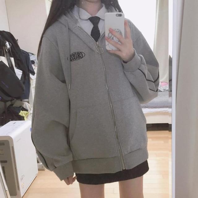 streetwear Harajuku Oversized sweatshirt women print Letter zip up Hoodies Student Plus Size Outwear Female Loose tops 3
