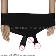 Black Low Waist Latex Briefs With Glued Penis Sheath And Butt Condom Rubber Pants Shorts Bottoms DK-0069