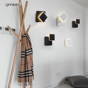 Image 5 - Lámpara de pared LED cuadrada para dormitorio, sala de estar, candelabro blanco y negro, luces de pared de 360 grados, accesorios de Metal giratorio de 5W/16W