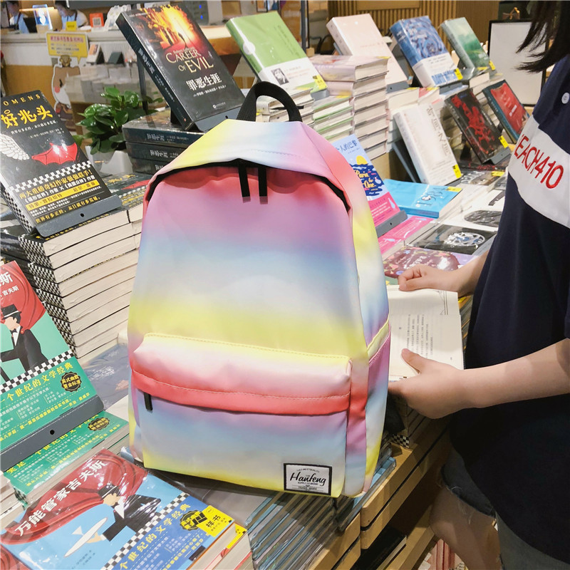 Pu Leather Backpack Female Gradient Color Student Bag Casual Rainbow Color Shoulder Bag School Bags For Teenage Girls