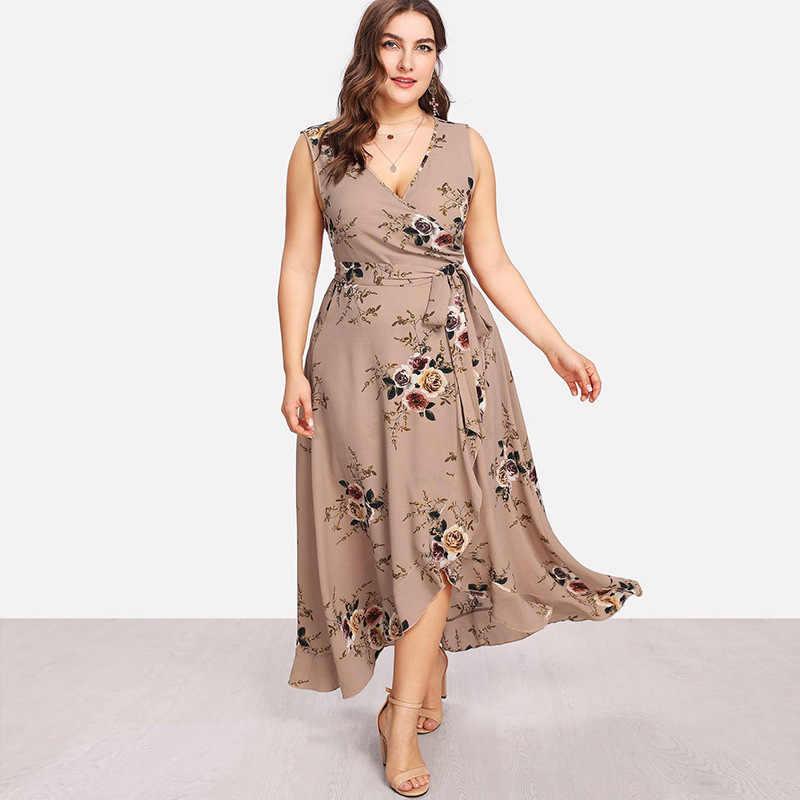 kadınlar elbise artı boyutu Yaz çiçek Kolsuz Hırka Elbise Diz Boyu V Yaka İmparatorluğu Bohemian tatlı plaj meslek yazdır