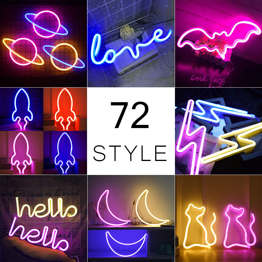 Wholesale 72 Styles Led Neon Light Colorful Rainbow Neon Sign for Room Home Party Wedding Decoration Xmas Gift Neon Lamp