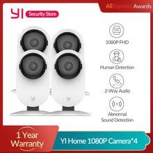 Yi 4 pces casa câmera 1080p ai + funções de detecção humana visão noturna ip bayby monitor wi fi cam cctv yi nuvem sd cartão armazenamento