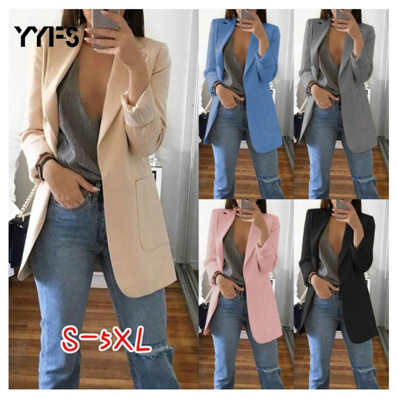 Long Slim Blazers Women Autumn Office Formal Suit Coat Ladies Casual Long Sleeve Female Business Suits Female Plus Size S-5XL