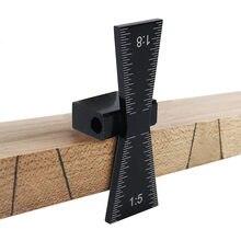 1:5 & 1:8 bitola de rabisco de andorinha marcador madeira calibre ferramenta de medição madeira liga alumínio escalas graduadas