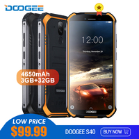 DOOGEE S40 IP68/IP69K 4G Rugged Mobile Phone 5.5inch Display 4650mAh MT6739 Quad Core 3GB RAM 32GB ROM Android 9.0 8.0MP Mobile