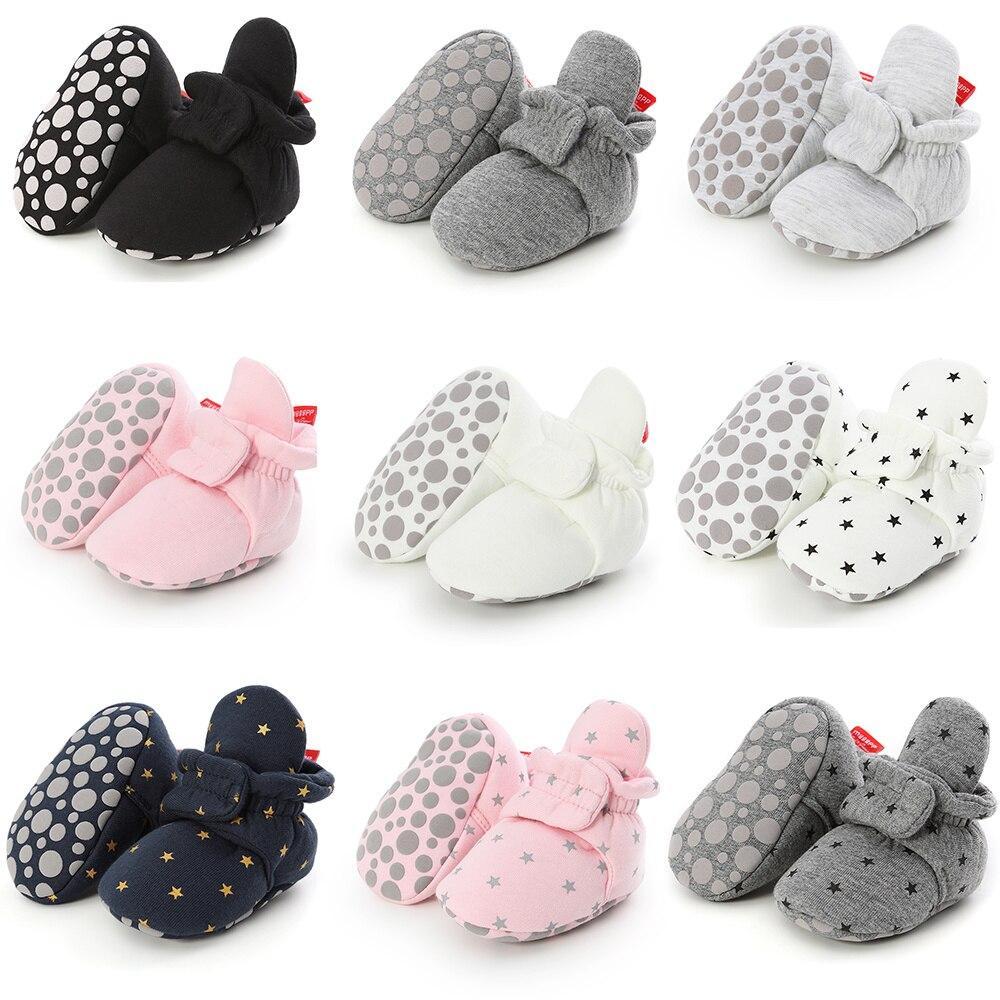 Носки для новорожденных; обувь для мальчиков; удобная обувь для малышей с первой звездой; теплые хлопковые ботиночки для девочек; мягкие