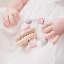 1PC Baby Teether Wooden Rattle Ring Teething Nursing Bracelets BPA Free Silicone