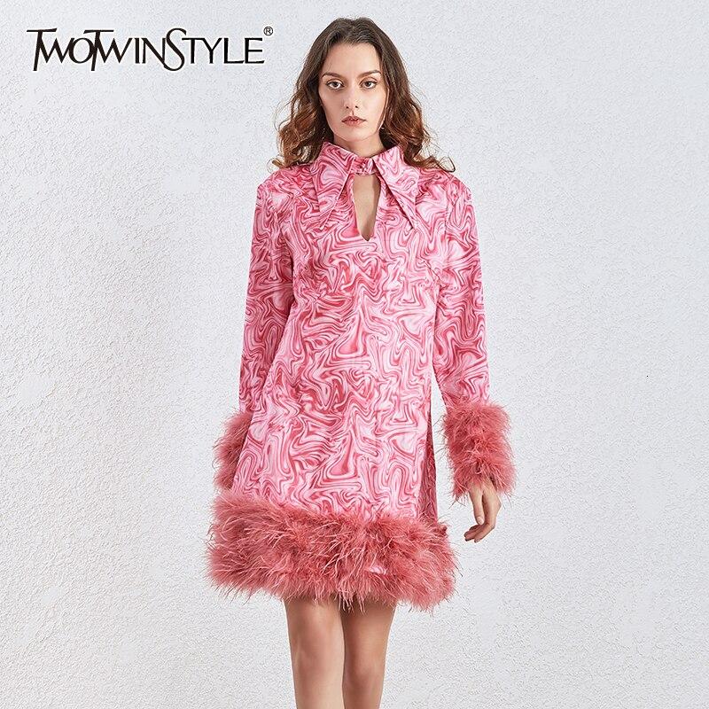 >TWOTWINSTYLE Patchwork Feathers Print Dress Women Lapel Collar Long Sleeve Tassel Mini Dresses <font><b>Female</b></font> <font><b>2020</b></font> <font><b>clothing</b></font> Fashion tide