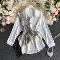 2021 nuove camicette da donna colletto bianco signore cuciture irregolari colore contrasto maniche lunghe camicia urbana donna Casual top lunghi