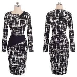 Image 2 - Nice forever vestido ceñido de negocios para mujer, elegante, ilusión de retales, ajustado con botones, b231