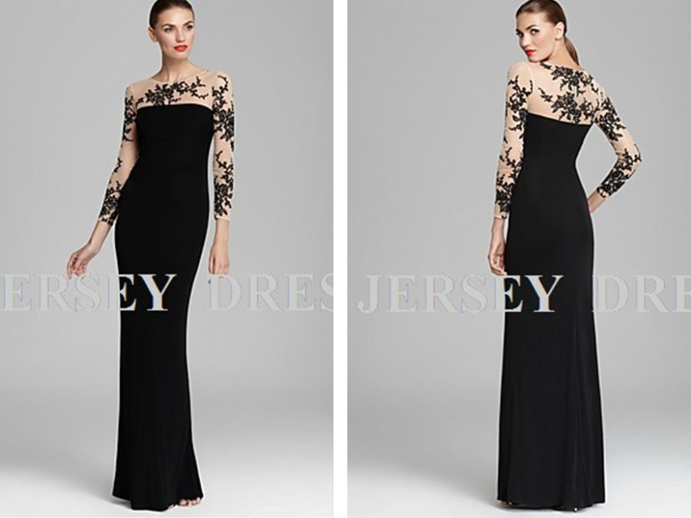 2018 Long Sleeve Special Occasion Embroidered Formal Floor Length Plus Size Black Long Evening Mother Of The Bride Dressses
