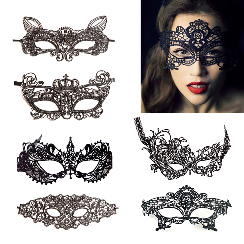 Sexy Erotic Lingerie for Women Lady Female Black Lace Mask Hollow Sexy Women Lace Eye Mask Cosplay Costume Party Nightclub(China)