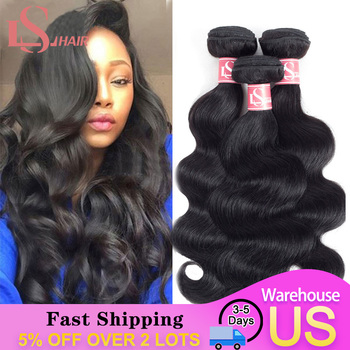 LS Hair Peruvian Body Wave Hair Extensions 100% Human Hair Weave Bundles Natural Black Remy human Hair Extensions 8-26inch image