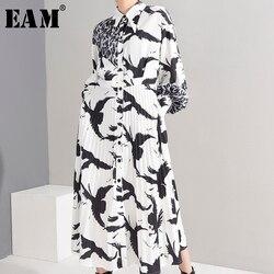Женское длинное платье-рубашка EAM, белое плиссированное платье свободного покроя с отложным воротником и длинным рукавом, весна-лето 2020, ...