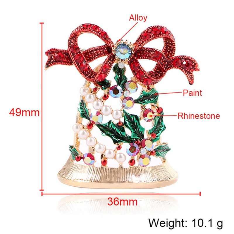 Красивый горный хрусталь Рождественские Броши с колокольчиком для женщин модные Рождественские творческие булавки лук аксессуары платье пальто ювелирные изделия Лидер продаж