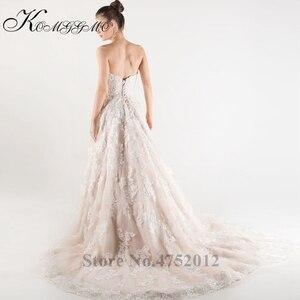Image 4 - Lace Appliques Tulle A Line Wedding Dress Vestidos De Novia 2019 Elegant Strapless Robe De Mariée A Line Bridal Gown