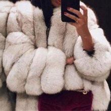 women casual Jacket Plus Size Short Faux Fur Coat Warm Furry Long Sleeve Outerwear Autumn Winter Loose Overcoat Outwear