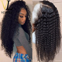 VLWIGS Top Indian Remy Human Hair Wigs Kinky Curly 13x6 Free Deep Parting Space Lace Wigs Preplucked Hairline for Hot Girls LJ03(China)