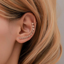 1 Pcs New Fashion Sliver Gold Color Star Shape Long Earcuffs Bohemian Crystal Clip On Ear Cuff For Women Earring Clips Jewelry(China)