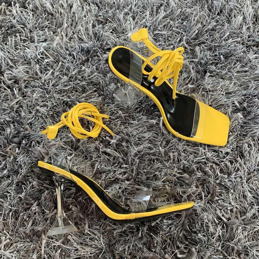 2020 yaz pompaları yeni seksi gladyatör sandalet ayakkabı kadın PVC yüksek topuklu burnu açık sandalet bayan ayak bileği kayışı pompa ayakkabı boyutu 35-42