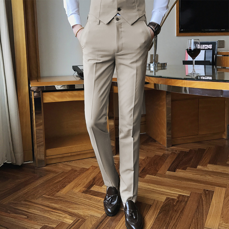 Quality Men Cotton Suit Pants Solid Color Business Casual Mens Dress Trousers Khaki Black Classic Slim Men's Groom Wedding Pants