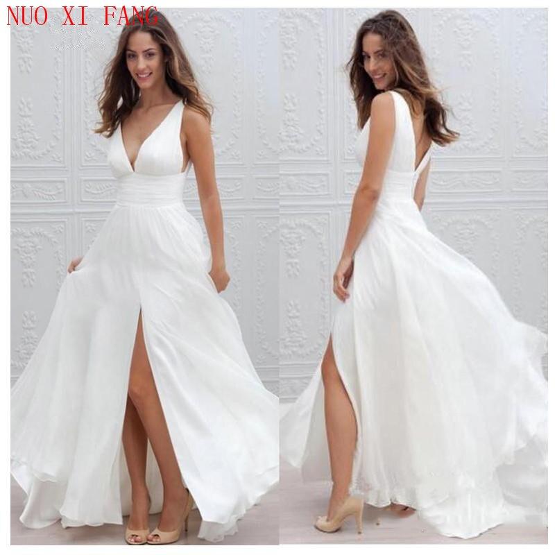 NUOXIFANG Simple Boho V Neck Beach Wedding Dress 2020 Robe De Mariee Side Split Sexy Bridal Dress Chiffon Wedding Dresses