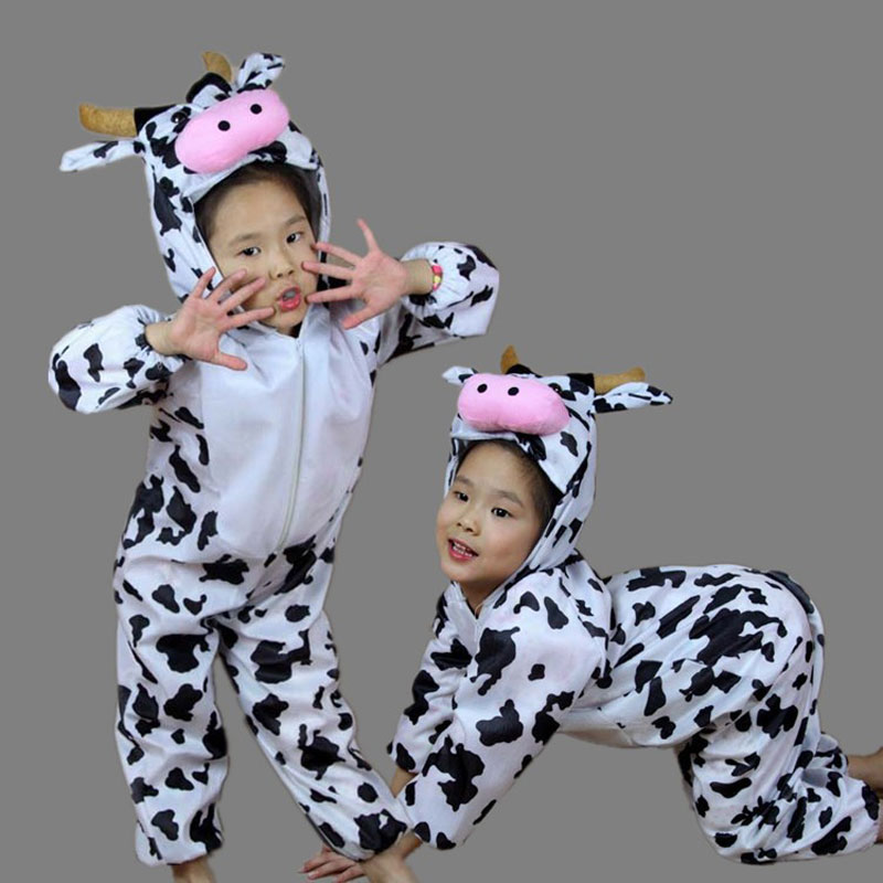 Umorden Children Kids Toddler Cartoon Animal Milk Cow Costume Performance Jumpsuit Halloween Costumes for Boy Girl